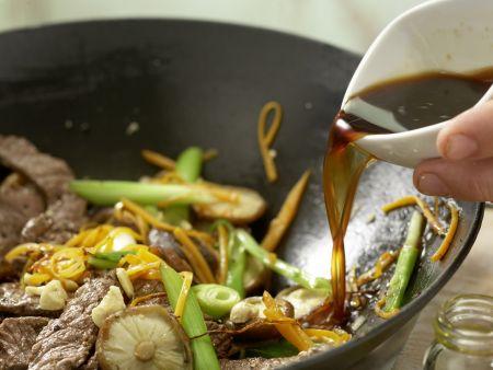Rindfleisch-Shiitake-Wok: Zubereitungsschritt 11