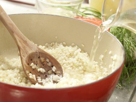 Risotto mit geräuchertem Heilbutt: Zubereitungsschritt 7