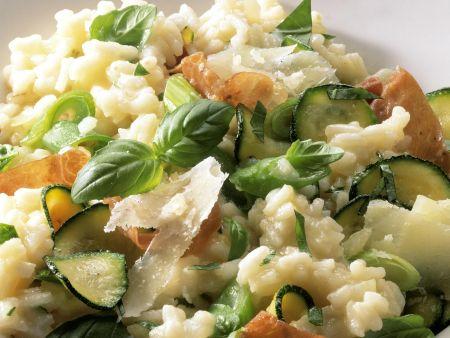Risotto mit Zucchini und Schinken