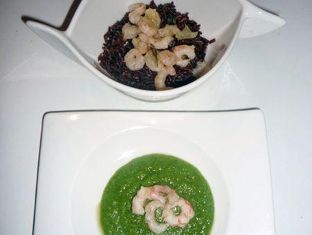 Riz Rouge mit Garnelen und Brokkoli-Creme
