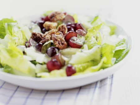 Römersalat mit Fenchel und Weintrauben