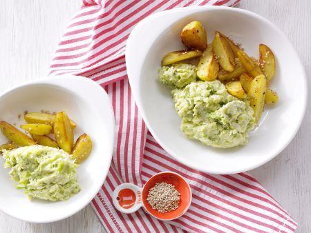 Rosenkohlpüree mit Sesamkartoffeln