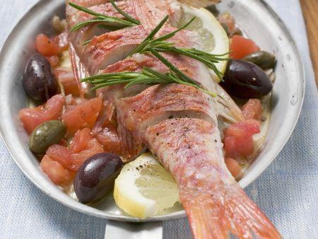 Rotbarbe mit Mittelmeer-Gemüse