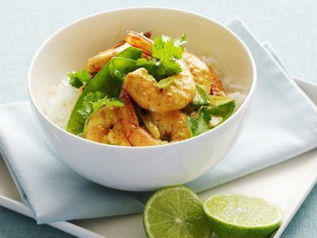 Rezept: Rotes Garnelen-Curry mit Zuckerschoten