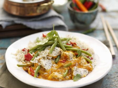 Rotes Thai-Curry mit Jasminreis