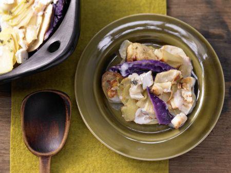 Rotkohl-Kartoffel-Gratin
