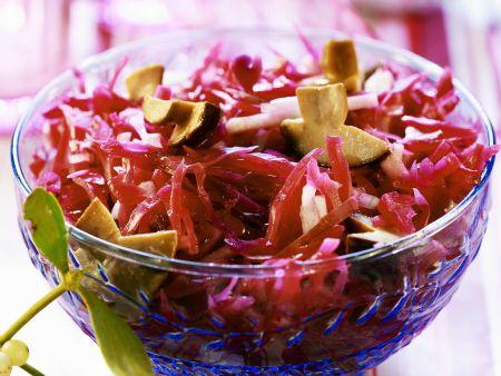 Rezept: Rotkraut mit Pilzen