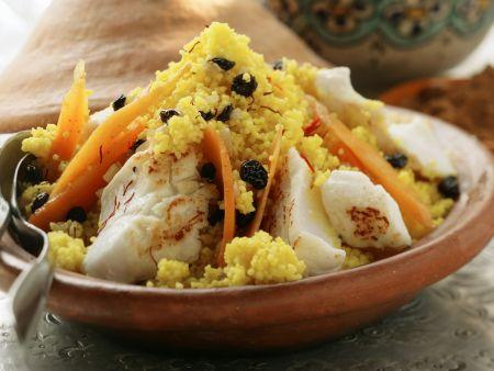 Safran-Couscous mit Fisch und Möhren