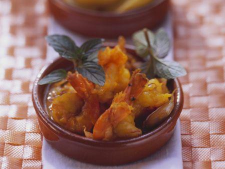 Safrangarnelen mit Tomatensauce