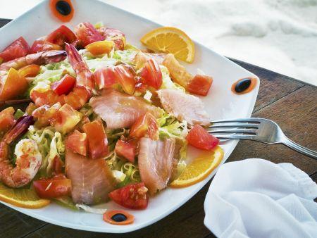 Salat aus Meeresfrüchten
