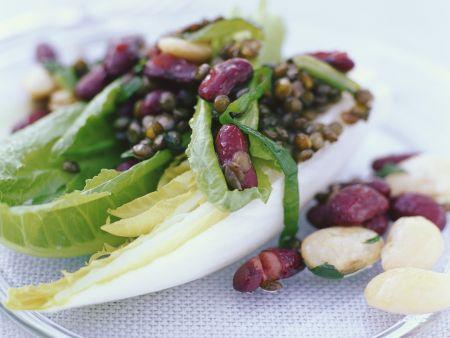Salat mit Linsen und Bohnen
