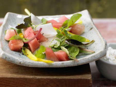 Salatschüssel mit Wassermelone