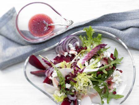 Salatteller mit Nashi, Schafskäse