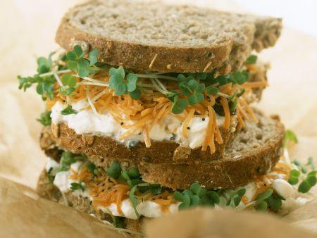 Sandwich mit Hüttenkäse, Möhren und Kresse