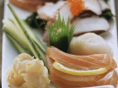 Sashimi mit Lachs und Ingwer