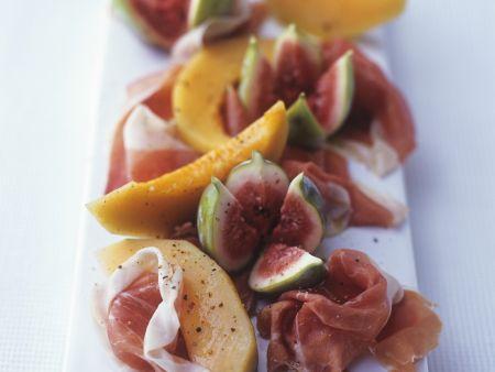 Schinken mit Feige und Melone