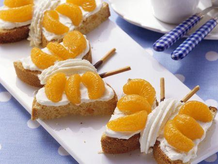 Rezept: Schmetterlings-Kuchen mit Marzipan und Mandarinen