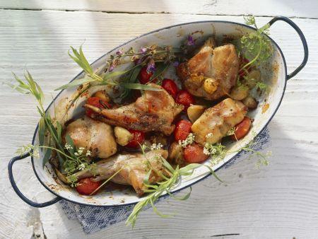 Schmorkaninchen mit Tomaten und Kräutern