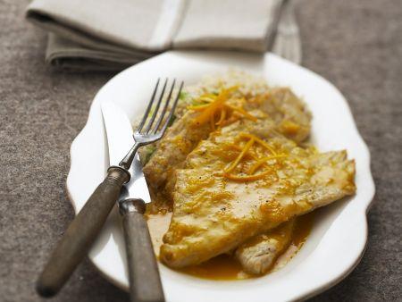 Schnitzel vom Kalb mit Orangensauce