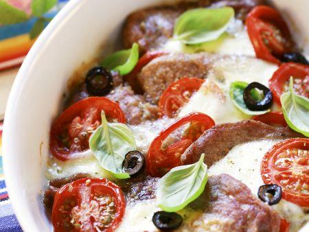 Schweinebraten mit Tomaten und Mozzarella