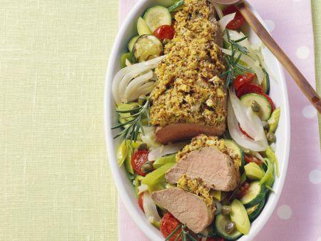 Schweinefilet mit Senfhaube und gebackenem Gemüse