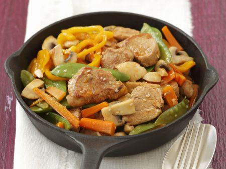 Schweinefilet-Pfanne mit Gemüse