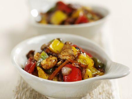 Schweinefleisch mit Gemüse aus dem Wok