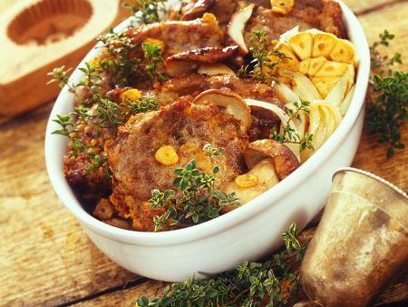 Schweinefleisch mit Pilzen aus dem Ofen
