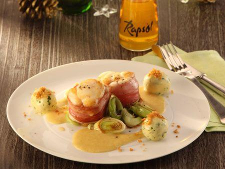 Seeteufel-Medaillons mit Bratapfelsauce