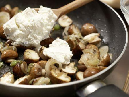 Sesampfannkuchen mit Pilzen: Zubereitungsschritt 4