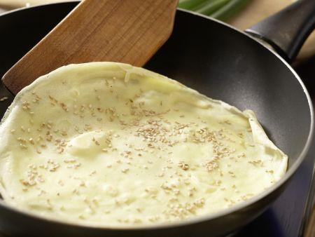 Sesampfannkuchen mit Pilzen: Zubereitungsschritt 6