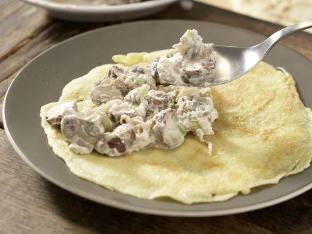 Sesampfannkuchen mit Pilzen: Zubereitungsschritt 7