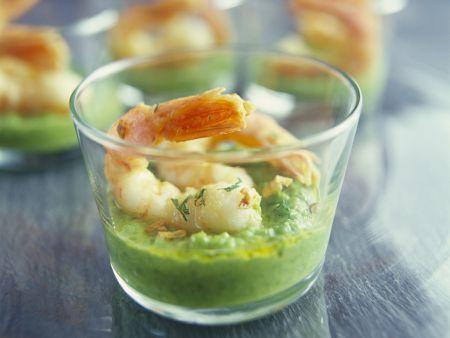 Shrimps auf Erbsenmus