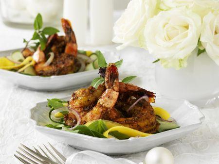 Shrimps in Safran-Kokos-Marinade mit Mangosalat