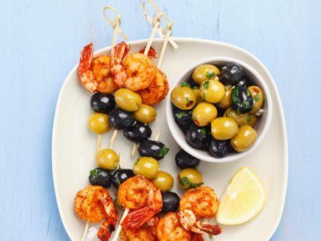 Shrimps-Oliven-Spieße