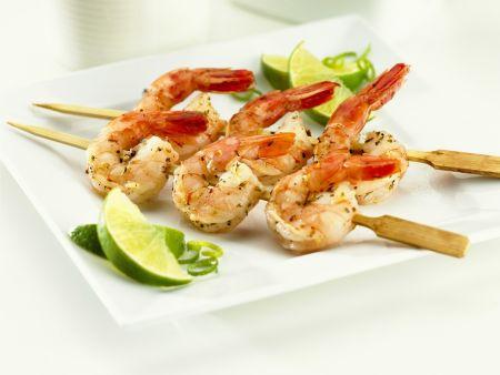 Shrimpsspieße mit Limette