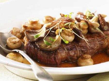 Sirloin Steak auf Jäger-Art