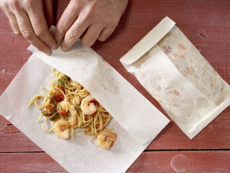 Spaghetti-Garnelen-Päckchen: Zubereitungsschritt 6