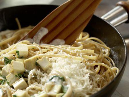 Spaghetti mit Kräuter-Sojacreme: Zubereitungsschritt 7