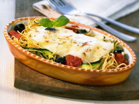 Spaghetti-Zucchini-Auflauf