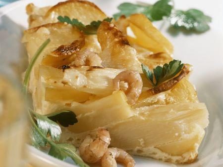 Spargel-Kartoffel-Gratin mit Krabben