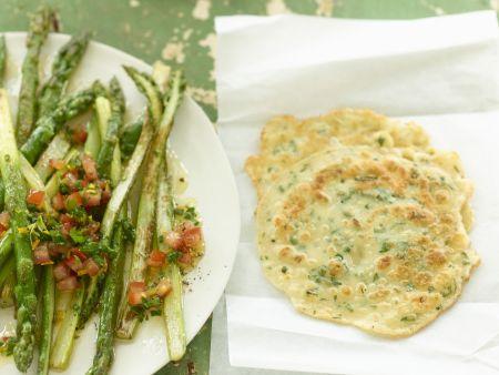 Rezept: Spargel mit Orangen-Vinaigrette und Pfannkuchen