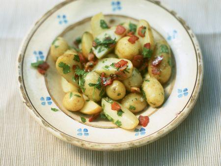 Speck-Kartoffeln mit Koriander
