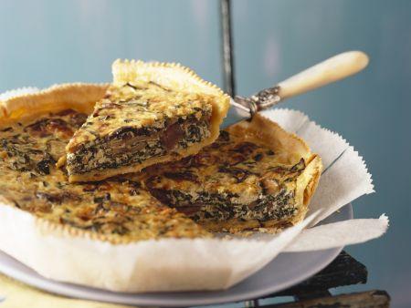 Spinat-Quiche mit Feta und Pilzen