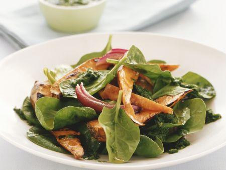 Spinat-Süßkartoffelsalat mit Koriandervinaigrette
