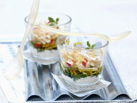 Sprossen-Gemüse-Salat mit Zaziki