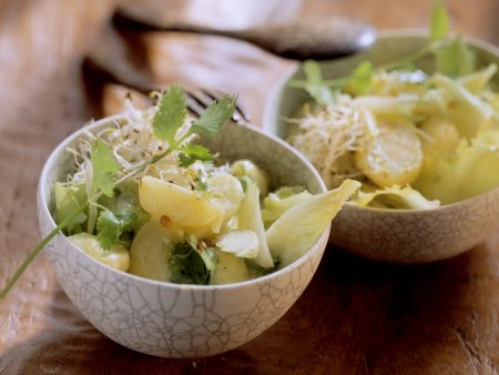 Sprossen-Kartoffelsalat mit frischem Koriander