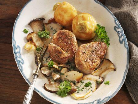 Steak vom Kalb mit Steinpilzen und Karamellisierten-Rüben