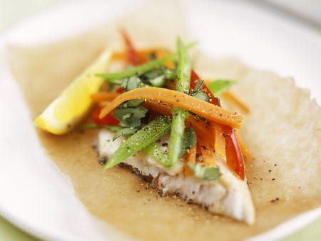 Rezept: Steinbutt mit Gemüse en papillote