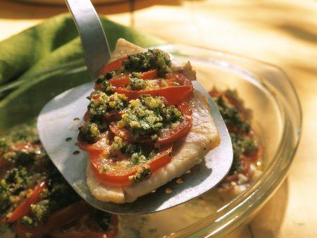 Steinbutt mit Tomaten-Kräuter-Haube